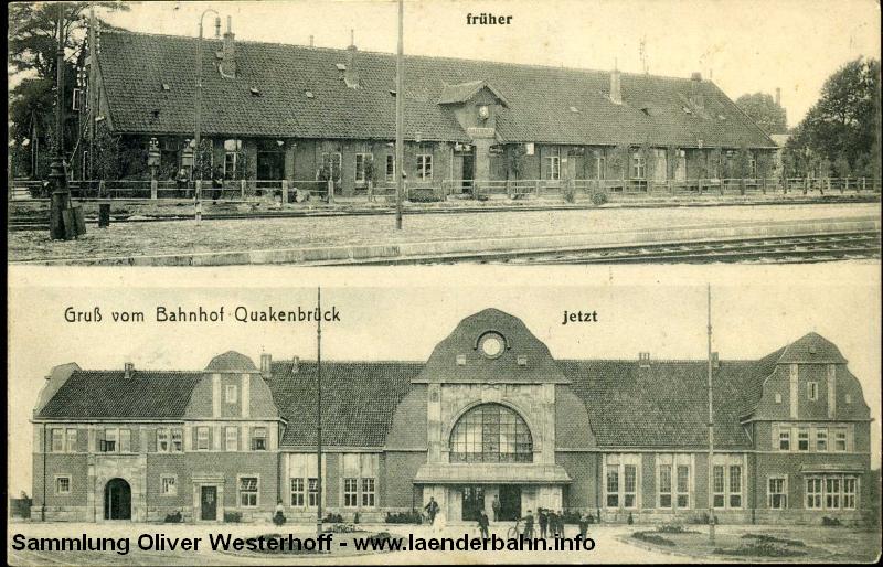 Oben das erste Gebäude von Bahnhof Quakenbrück, das später durch das unten zu sehende prachtwolle Gebäude ersetzt wurde.