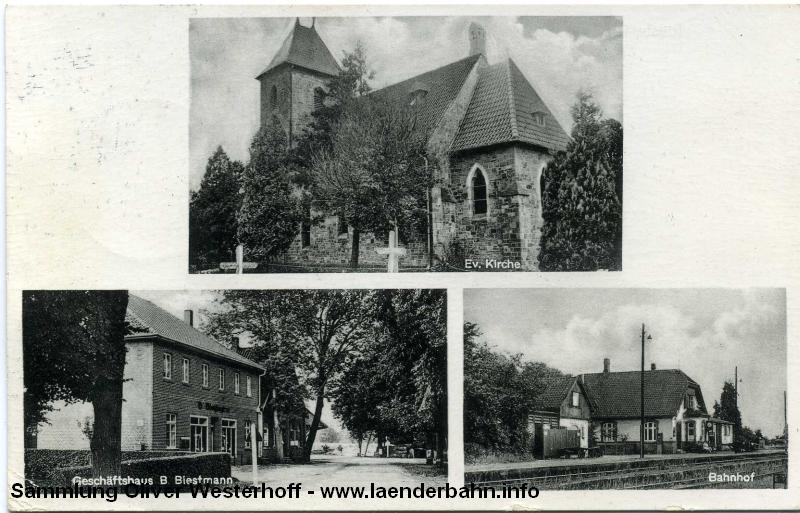 Der Bahnhof Rieste auf einer Ansichtskarte etwa Mitte der 1960er Jahre.
