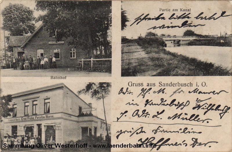 Sanderbusch hatte einen Haltepunkt, der neben dem Verkehr von Sandzügen auch dem Ausflugsverkehr diente.