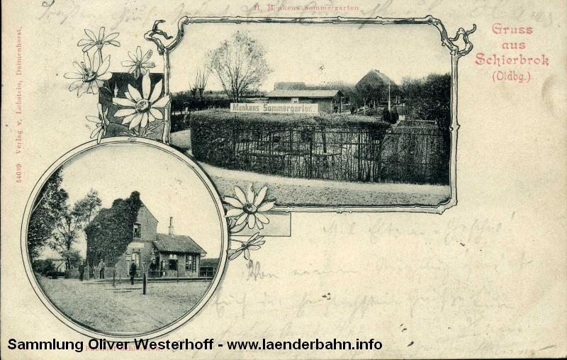 Der Bahnhof Schierbrok auf einer Ansichtskarte um 1900