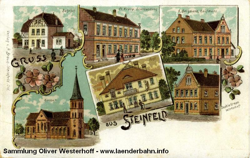 Diese alte Lithographie zeigt den Bahnhof Steinfeld um die Jahrhundertwende.