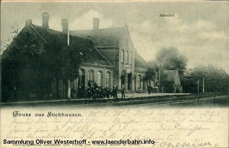 Blick auf den Bahnhof Stickhausen um 1900