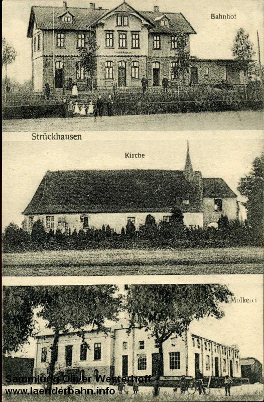 Der Bahnhof Strückhausen auf einer Ansichtskarte um die Jahrundertwende