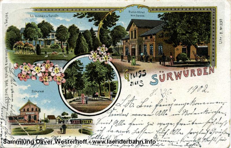 Der Bahnhof Sürwürden auf einer Lithographie um 1900 herum.