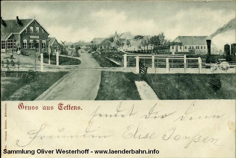 Diese alte Ansicht zeigt links den Bahnhof von Tettens, wie er ungefähr hätte aussehen können