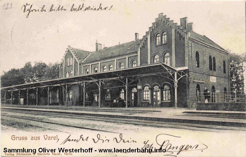 Der Bahnhof Varel von der Gleisseite um 1905