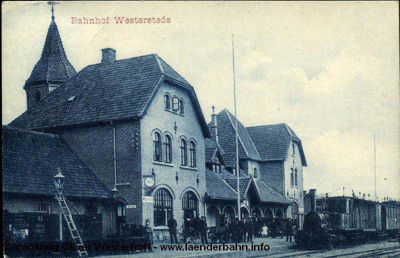 Bahnhof Westerstede um 1910 mit einer Omnibus-Tenderlokomotive der Baureihe T 0