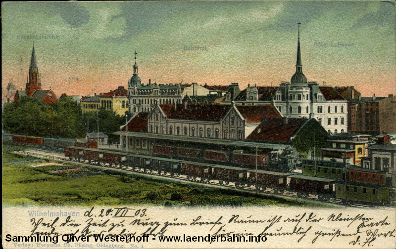 Eine frühe Ansicht von 1903 des Bahnhofs Wilhelmshaven