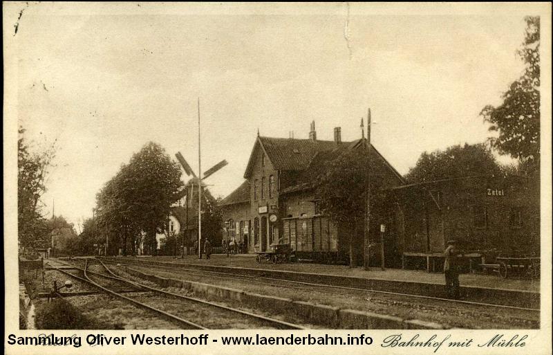 Bahnhof Zetel mit einen Gleisanlagen.