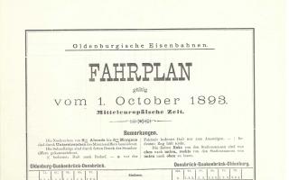 Fahrplan Oldenburgische Eisenbahnen von 1893