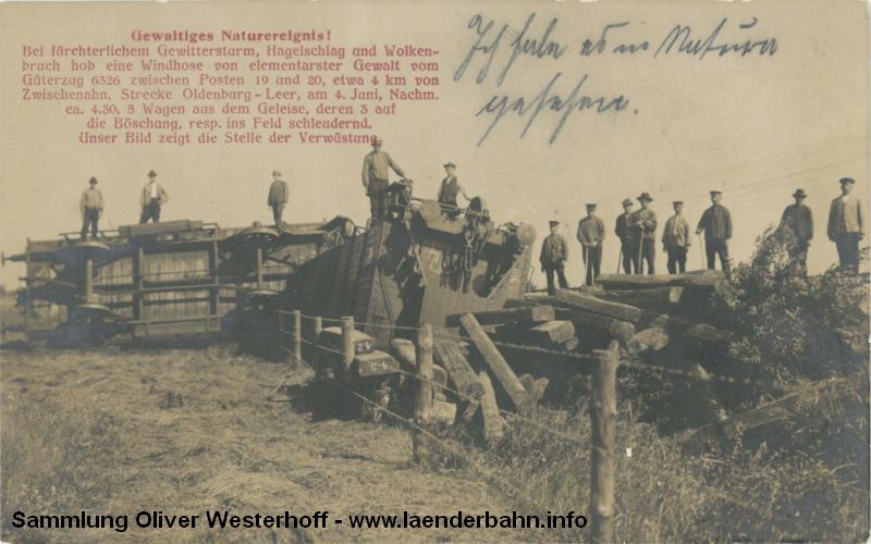 Am 04.06.1910 warf eine Windhose die 5 letzten Waggons eines fahrenden Güterzuges aus den Schienen