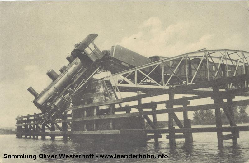 25.07.1913 - Eisenbahn-Unglück auf der Emsbrücke bei Hilkenborg