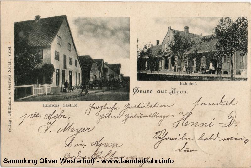 Diese 1900 gelaufene Ansichtskarte zeigt u.A. den Bahnhof.