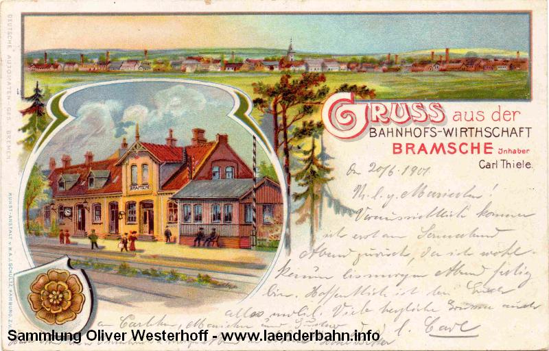 Litho von 1901 mit der Bahnhofswirtschaft und einer Gesamtansicht des Ortes.