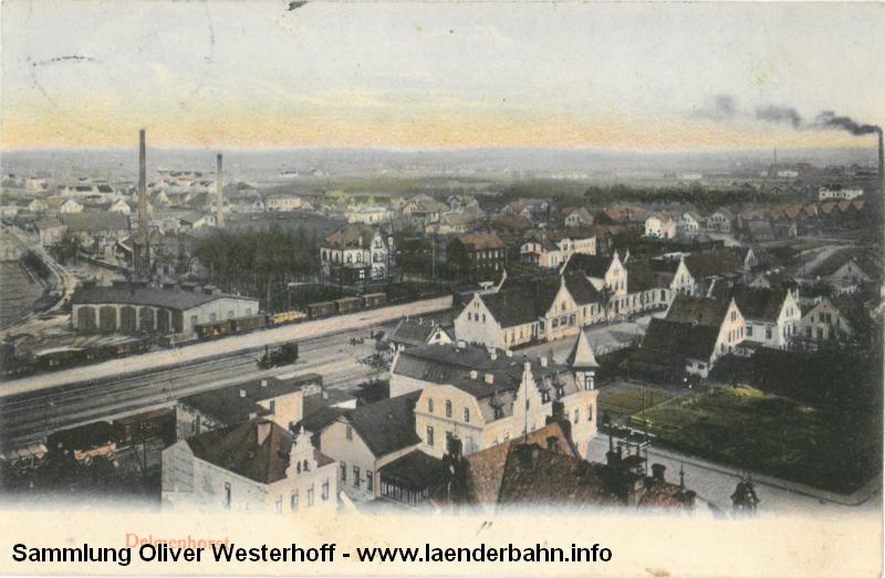 Bahnhof und Betriebswerk Delmenhorst, die Karte ist 1910 gelaufen.