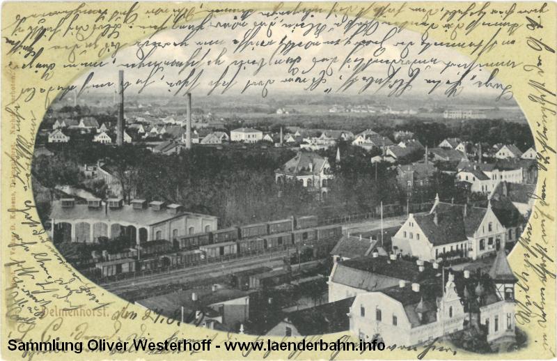 Ansicht von Bahnhof und Rundlokschuppen Delmenhorst von 1905.