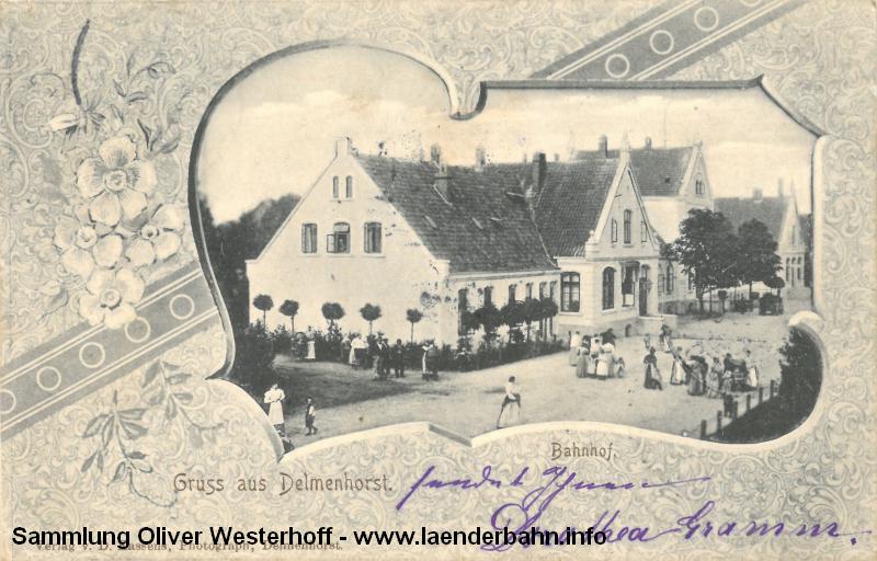 Der Bahnhof von der Staßenseite, die Karte ist 1908 gelaufen.