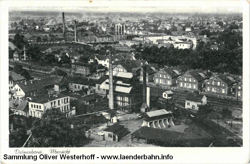 Eine Ansicht des Gaswerkes von 1956 mit den dahinter liegenden Gleisanlagen.