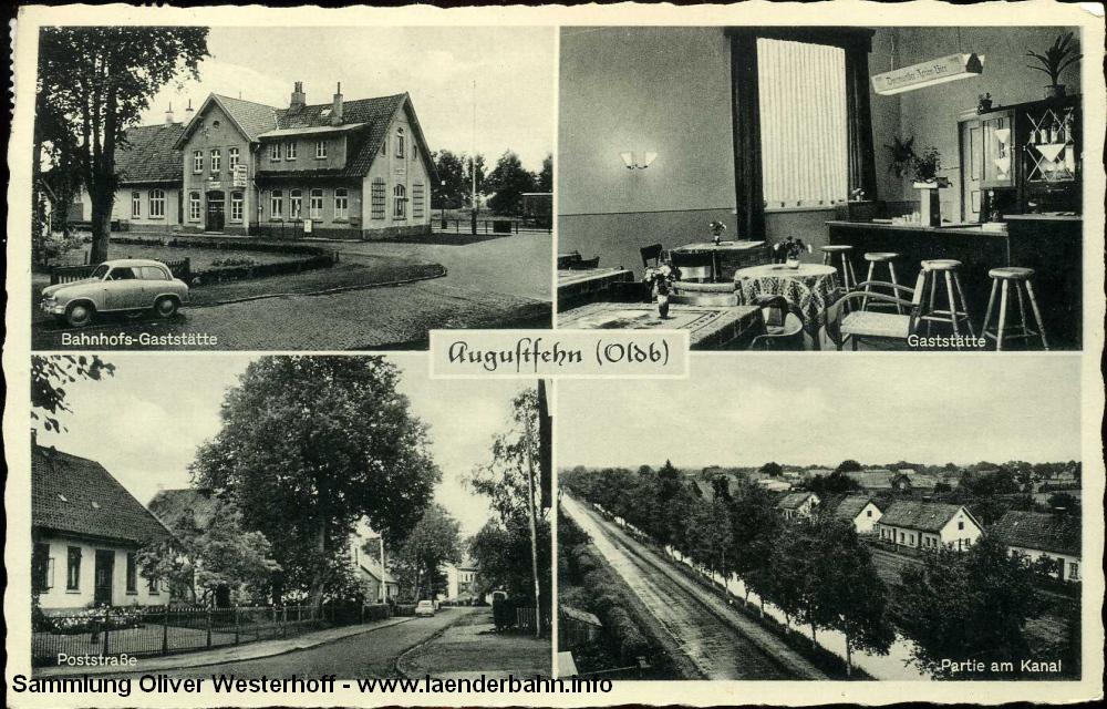 Der Bahnhof Augustfehn auf einer 1959 gelaufenen Karte.