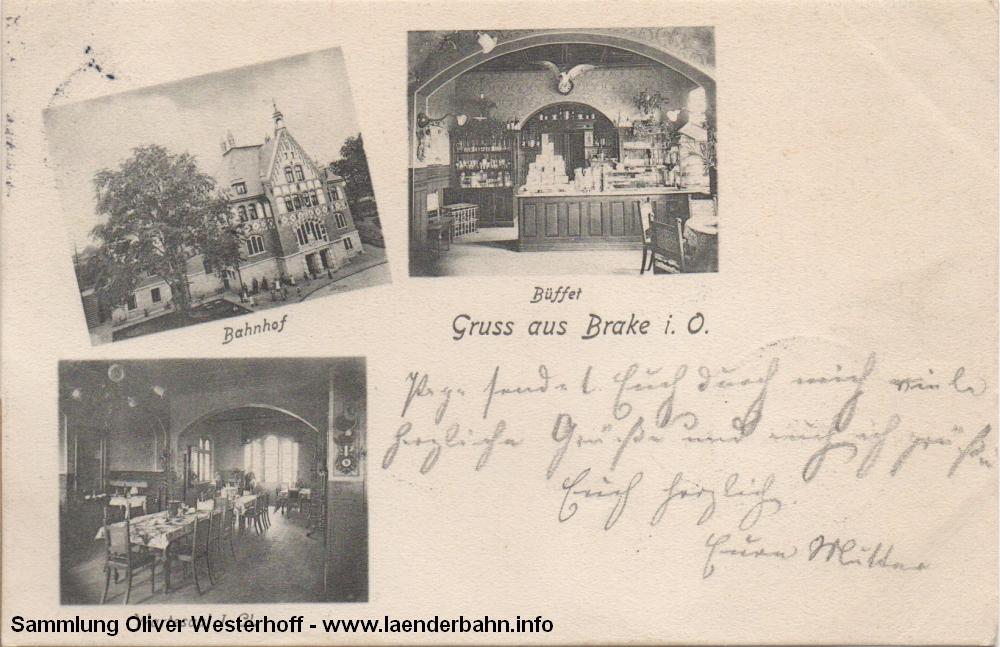 Bahnhof Brake in der Wesermarsch. Die interessante Karte ist 1904 gelaufen und zeigt das seinerzeit noch recht neue Empfangsgebäude.