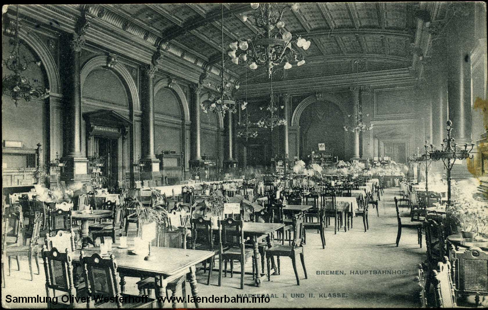 Hauptbahnhof Bremen. Die oldenburgische Strecke endete zwar in Bremen-Neustadt, allerdings liefen die Züge bis Hauptbahnhof durch. Die folgende Karte (gelaufen 1911) zeigt den Wartesaal erster und zweiter Klasse.