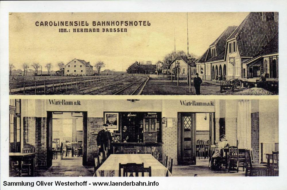 Den Bahnhof sowie einen Blick in die Bahnhofswirtschaft und die Warteräume gewährt diese 1913 gestempelte Karte.