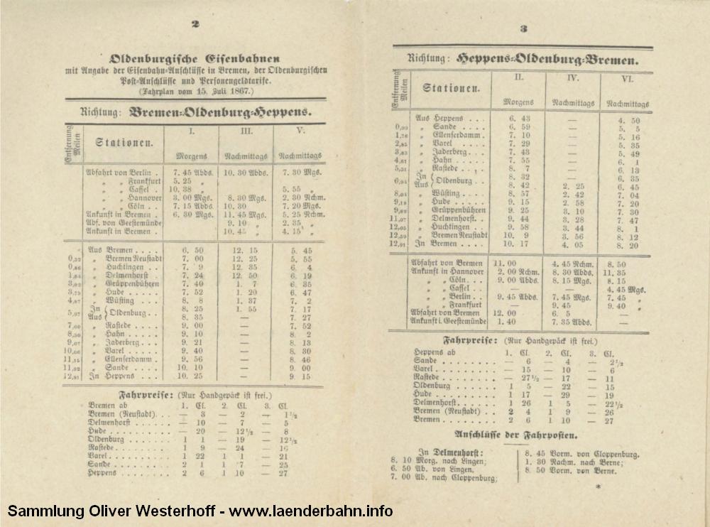 Dieser Fahrplan aus dem Eröffnungsjahr 1867 zeigt die 3 Zugpaare, die auf der ersten oldenburgischen Strecke verkehrten.