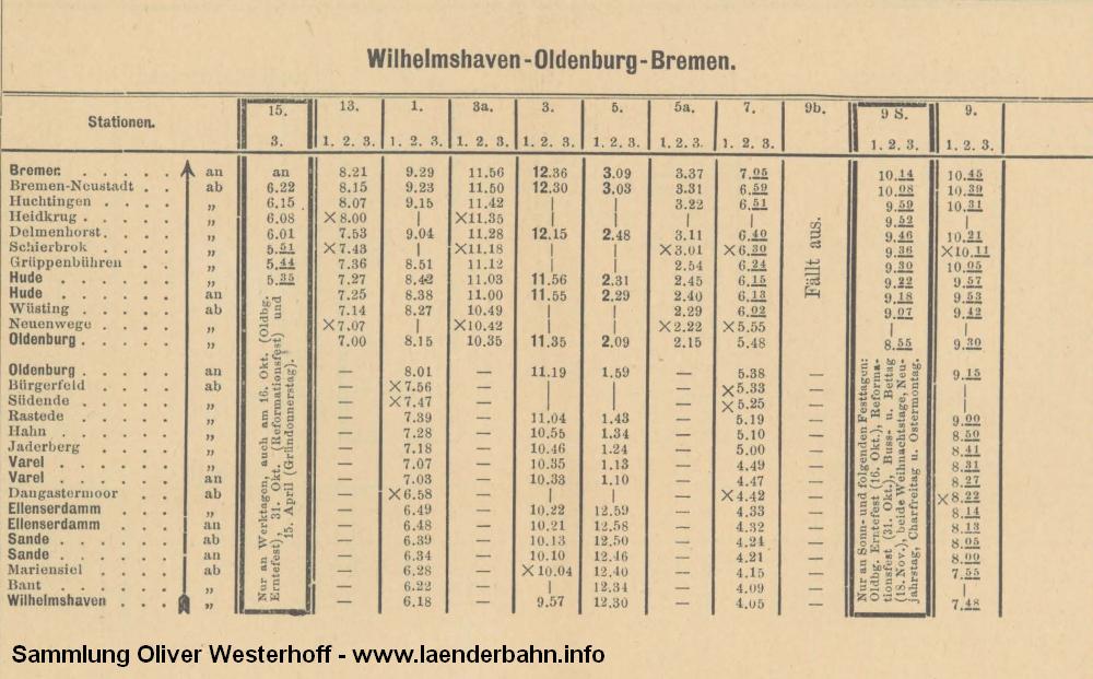 Fahrplanausschnitt der Züge von Oldenburg nach Bremen von 1896.