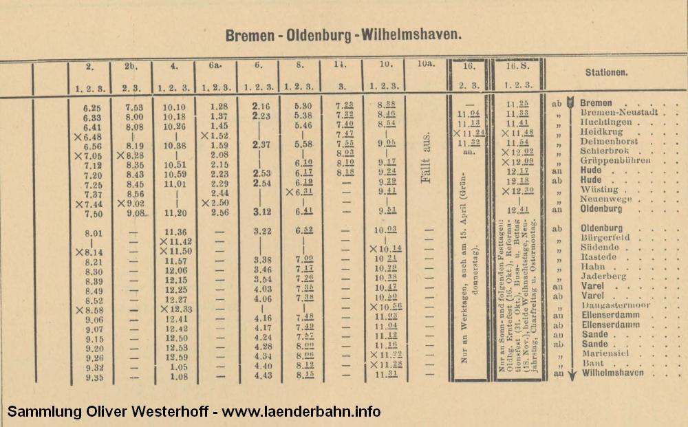 Fahrplanausschnitt der Züge von Bremen nach Oldenburg von 1896.