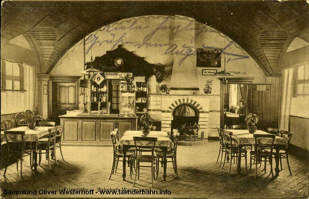Der Wartesaal von Bahnhof Friesoythe von 1916.