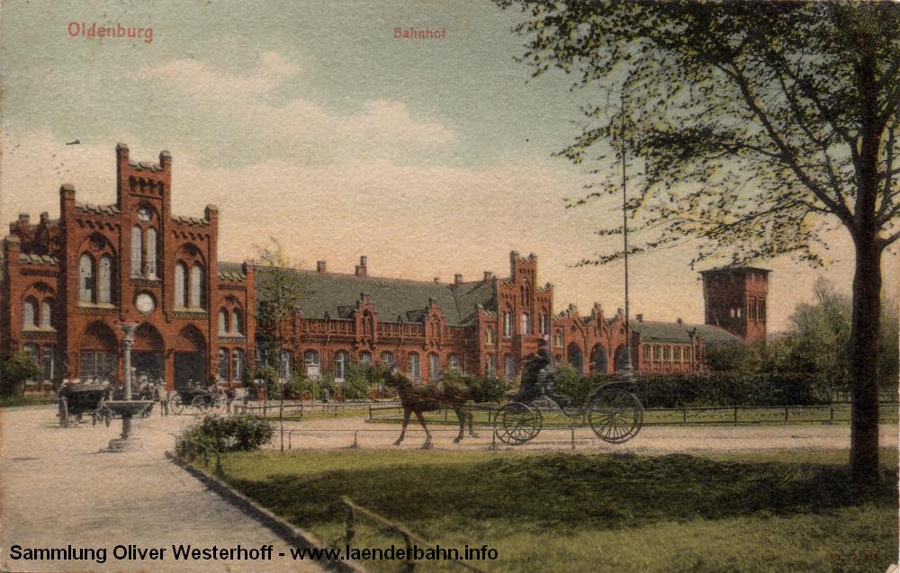 Der oldenburger Centralbahnhof auf einer 1907 gelaufenen Ansichtskarte