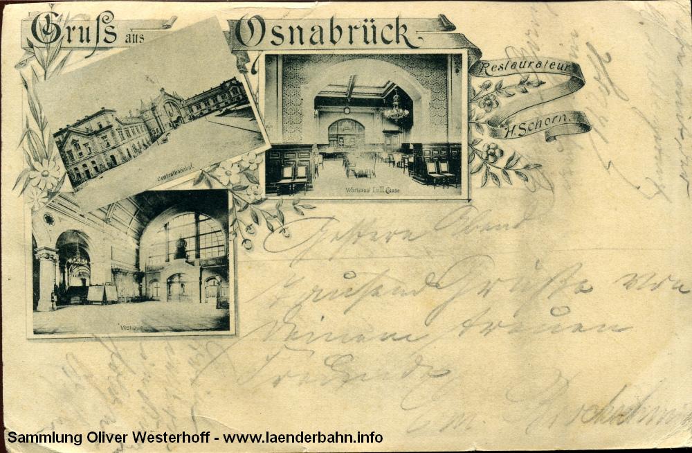Am Ende der Südbahn liegt Osnabrück, dessen Wartesaal die 1896 gelaufene Karte zeigt.