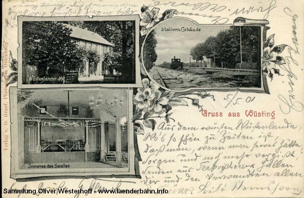 """Die 1901 gelaufene Ansichtskarte zeigt neben dem Ausflugslokal """"Wüstenlander Hof"""" auch die Bahnstation."""