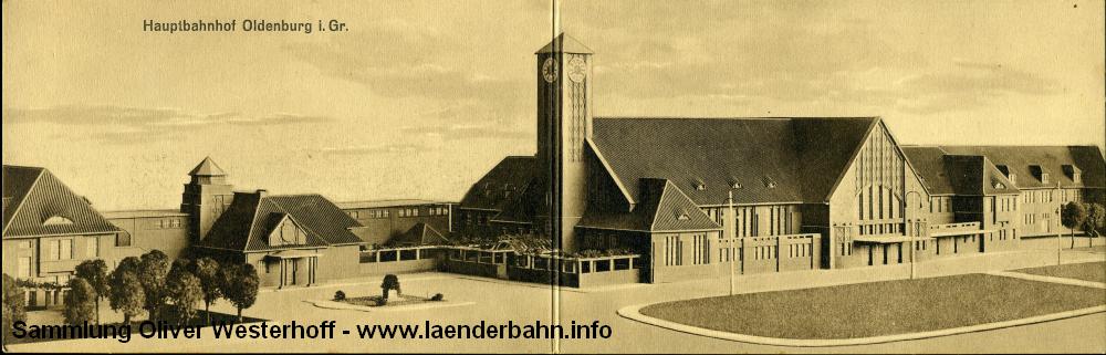 Architekturmodell des Bahnhofs aus der Planungszeit. Das Modell ist meines Wissens nicht erhalten, einzig einige Ansichtskarten gibt es davon. Diese ist herausgegeben vom Verlag des Vereins Oldenburgischer Eisenbahner.