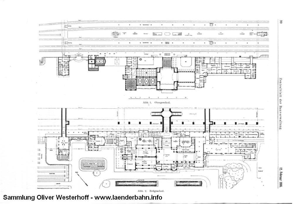 """Grundriss des neuen Bahnhofsgebäudes. Aus dem """"Zentralblatt der Bauverwaltung"""", Heft 13 und 15 von 1916."""