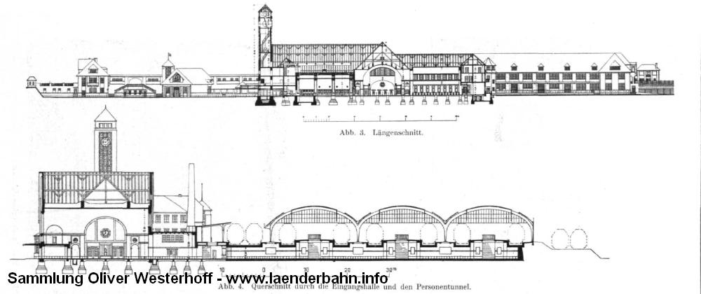 """Aufriss und Schnitt durch den Hauptbahnhof. Aus dem """"Zentralblatt der Bauverwaltung"""" von 1916."""