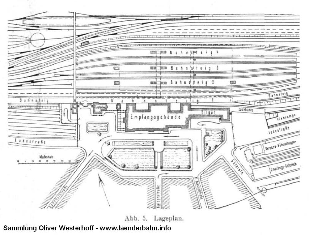 """Lageplan mit Bahnhofsplatz und Bahnhsteigen aus dem """"Zentralblatt der Bauverwaltung"""" von 1916."""
