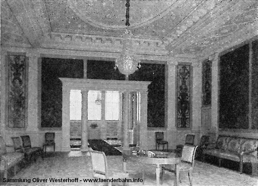 Ein Blick in den Salon des Großherzogs. Die Ansicht stammt aus der Denkschrift zum 50 jährigen Bestehen der G.O.E. von 1917.