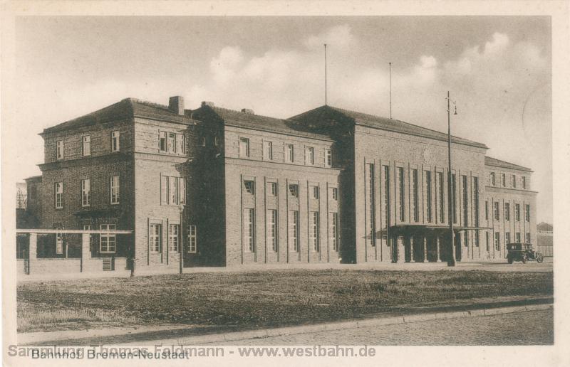 Der Bahnhof in Bremen-Neustadt auf einer Ansicht aus den 1920er Jahren. Die Karte stammt aus der Sammlung Thomas Feldmann.