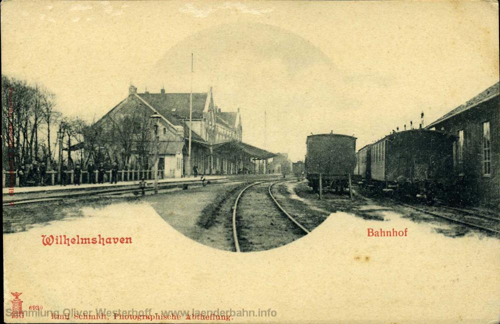 Der Gleisbereich des Bahnhofes, der Blick geht in Richtung Oldenburg.