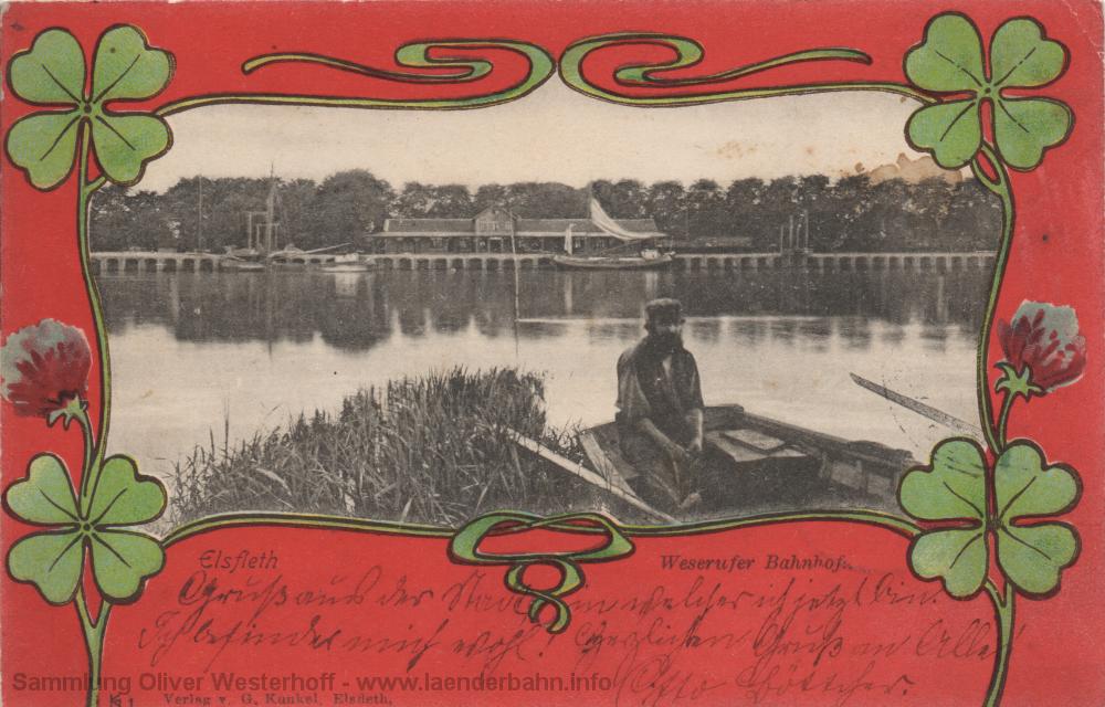 Der Bahnhof Elsfleth von der Weserseite auf einer Ansichtskarte von 1899.