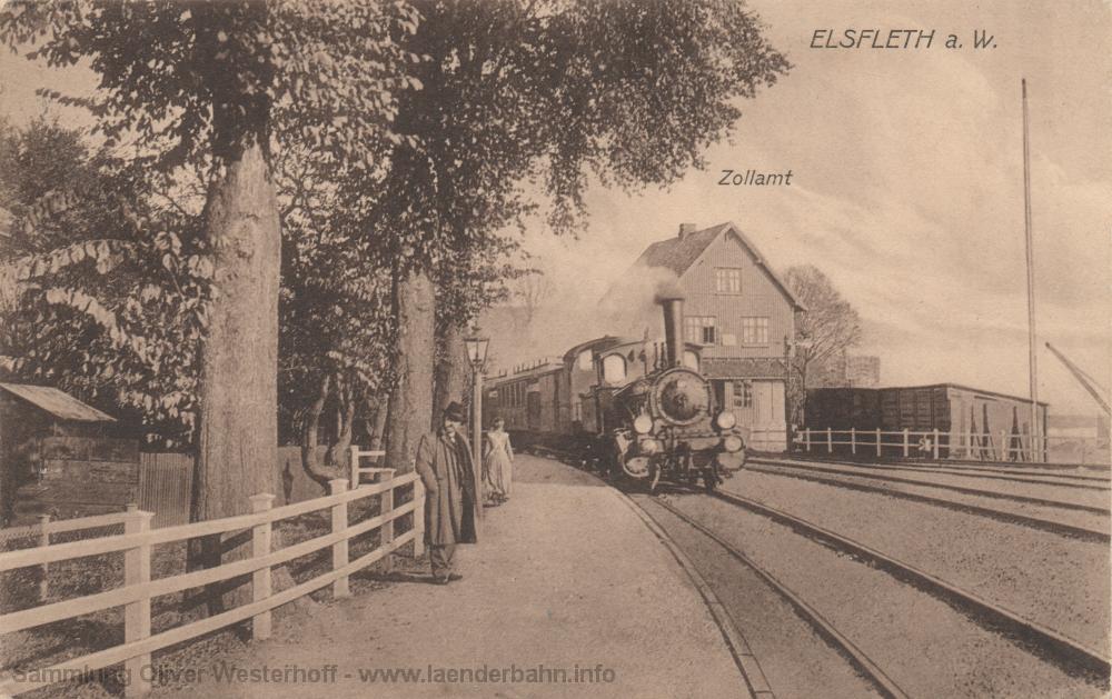 Aus Richtung Nordenham fährt gerade eine oldenburgische P 0 mit ihrem Personenzug ein. Die Ansichtskarte ist 1914 gelaufen.