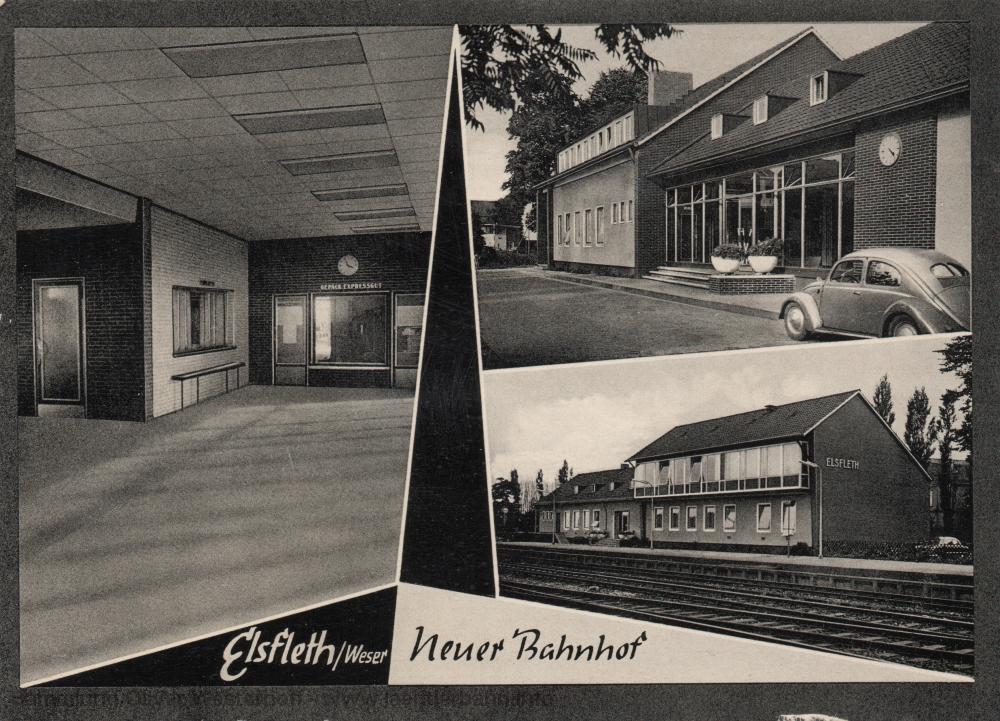 Die Ansichtskarte zeigt mehrere Ansichten des Bahnhofs.