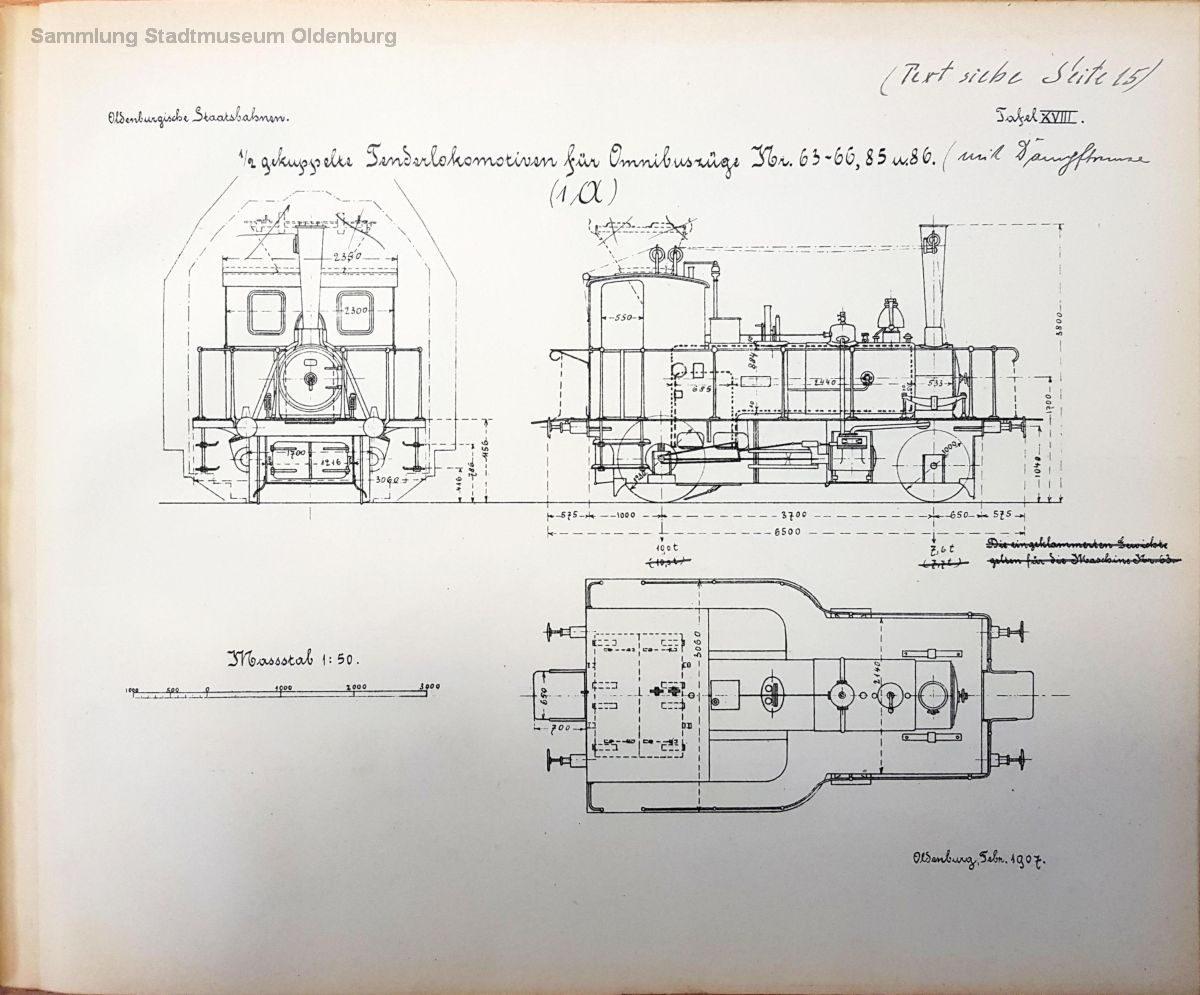 Tafel 18 zeigt die Omnibuslokomotive T O, auch die versuchsweise bei einer Maschine eingebaute Schüttfeuerung bauart Littrow ist zu erkennen.
