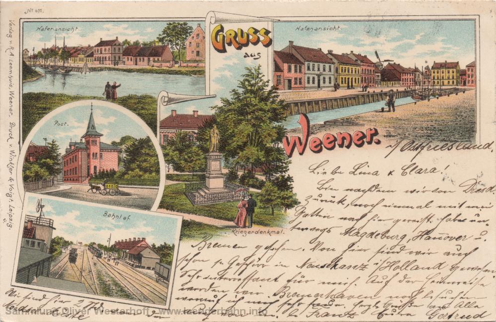 Auf dieser 1896 gelaufenen Lithographie ist auch der Bahnhof in Weener abgebildet.