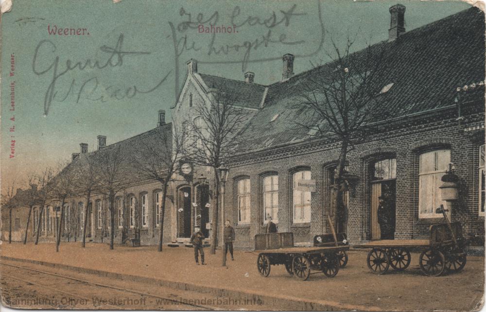 1912 ist diese Ansichtskarte des Bahnhofs in Weener gelaufen.