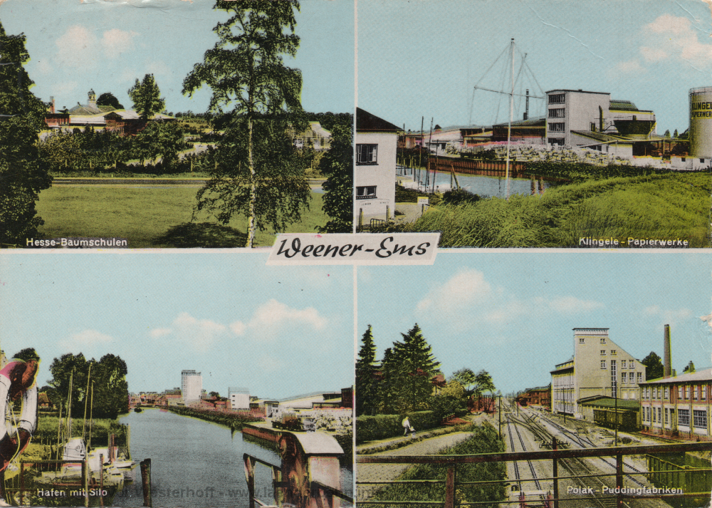 Den Blick auf den Bahnhofsbereich in Weener zeigt diese 1967 gelaufene Ansichtskarte.