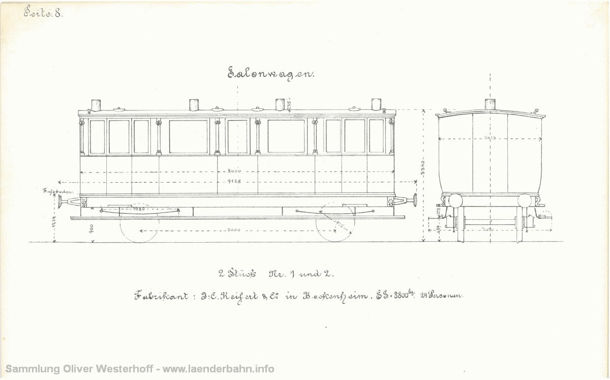 Seitenansicht der Salonwagen Nr. 1 und 2.