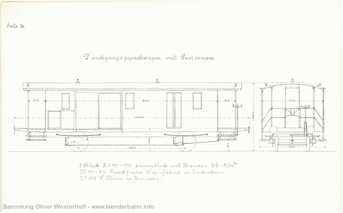 Von den Gepäckwagen mit Postabteil waren 1881 5 Stück im Einsatz.