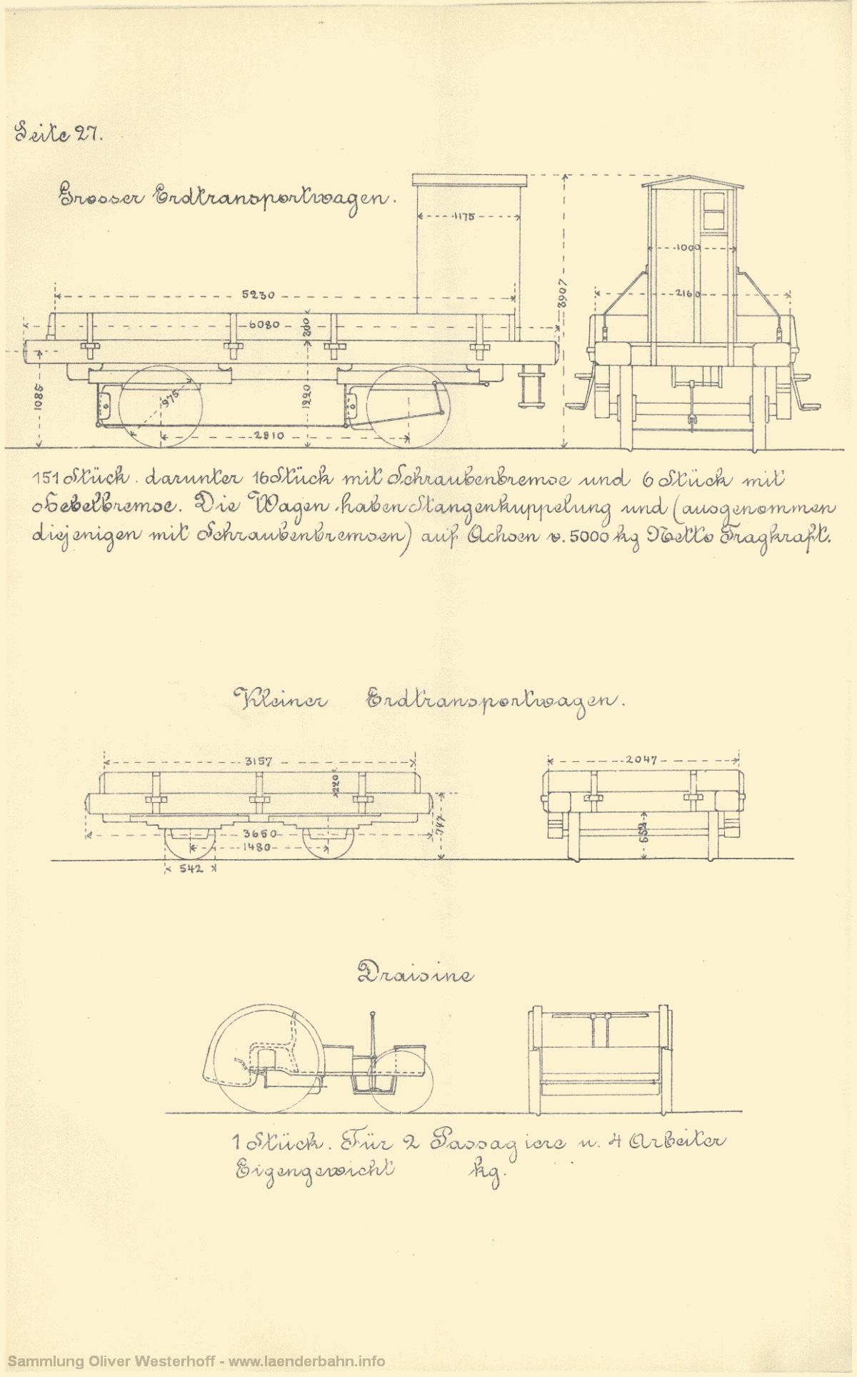 Noch aus der Zeit der ersten Streckenbauten stammten einige der Erdtransportwagen. Interessant ist die Draisine.
